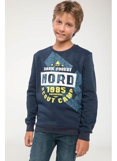 DeFacto Baskılı Sweatshirt Lacivert